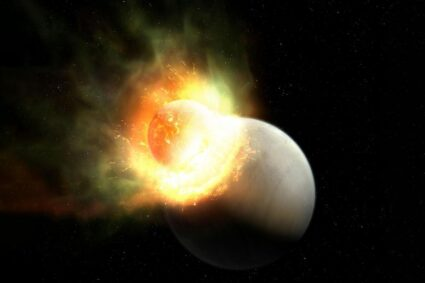 Atmosphere is seen seperating from a planet due to a great impact in nearby star system